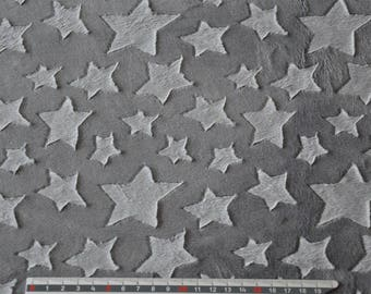 Gray minkee fabric stars