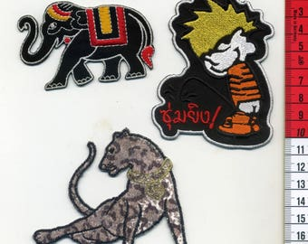 3 badges embroidery seconds, Panther, elephant, thailland, sewing, applique