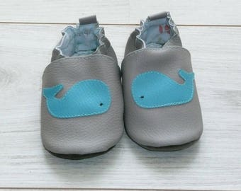 Size 20 slippers grey blue whale