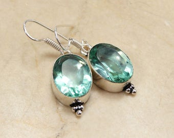 Earrings in 925 sterling silver and natural quartz green stamp
