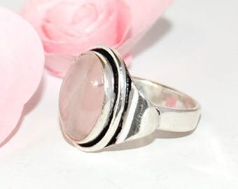 Rose quartz and Sterling Silver 925 size 53 ring