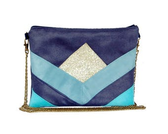 Pouch, Denim Blue, turquoise suede shoulder bag, faux leather glitter - graphic line - after the beach