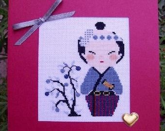 Hand embroidered card: small tree kokeshi man