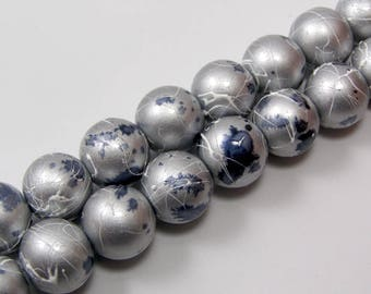 Set of 5 glass 12 mm colour grey drawbench beads
