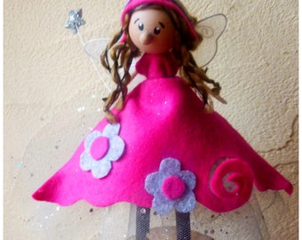 Large fairy on base / pink and grey / funny/fairy/poetic creation