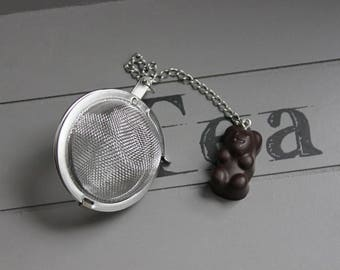 Ball tea Infuser, stainless steel, Brown resin bears candy