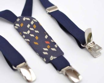 Blue elastic child suspenders night and Dark Blue Atelier Brunette Twist