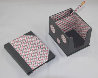 Desk set (holder with matching pen and notebook refillable notebook Notepad)