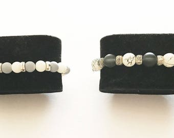 Available color gray and white or black and white unisex bracelet with glass beads