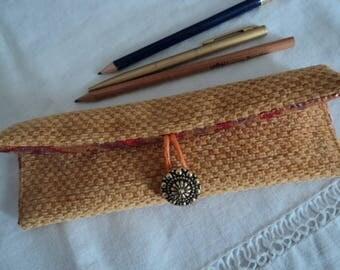 Glasses case with velvet yellow-orange - case glasses or orange pencil case gold - lined pouch glasses gift idea