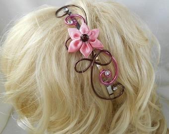 Morgan headband with satin Flower Pink