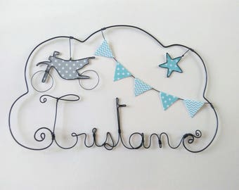 """""""Ride bike"""" personalized wire name decor for child's room wall cloud"""