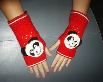 collection Christmas panda top wool mittens
