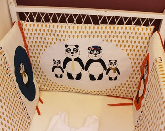 "Bumper baby mustard, red and blue ""panda family"""