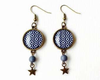 Long earrings - cabochon - Pop Star