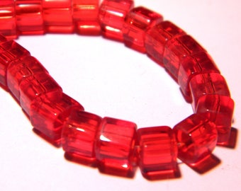 50 glass - cube with 4 mm - fashion Crystal beads - translucent red - PG290-9