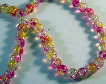 20 beads 6 mm clear Crackle Glass pink and yellow PV60