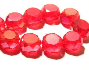 7 glass bead faceted - 10 x 7 mm - red-electroplated plated AB - glass - G73-8
