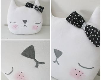 Customizable cat embroidered black bow pillow