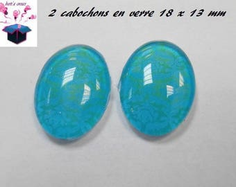 2 glass cabochons 18mm x 13mm blue theme