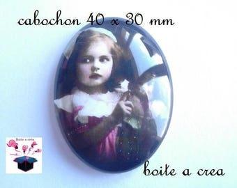 1 40x30mm vintage image glass cabochon