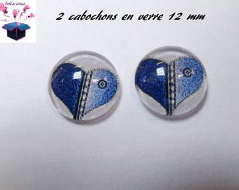 2 glass cabochons 12 mm for loop or ring jeans heart theme