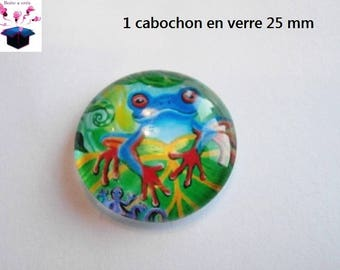 1 cabochon clear 25 mm round frog theme