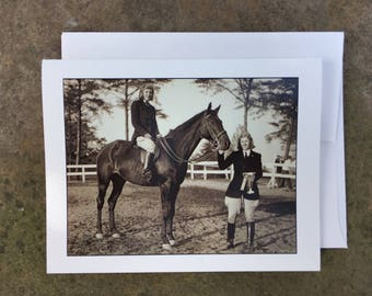 Vintage Horse and Rider Notecard - Blank Inside - Ships free!