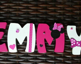 Kids name letter wooden 8cm - customizable minnie