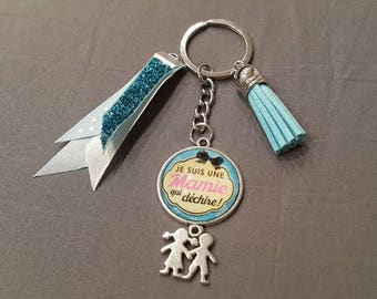 "Keyring ""GRANNY who rocks"" by lolaclarabijoux"