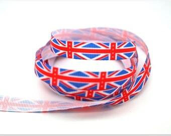 1 meter of Ribbon 9mm - United Kingdom flag / + clear