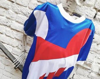 Vintage geometric print sportswear T-shirt
