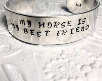 Cuff Bracelet, Horse Lover, Equestrian Gift, My Horse Is My Best Friend Bracelet, Cowgirl, Equestrian Jewelry