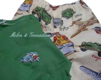 Pajama boy fancy retro cars (cars, aircraft,...)-4 years