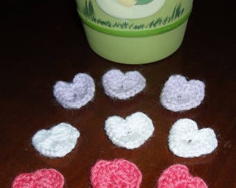 SET of 9 small hearts colours made crochet.