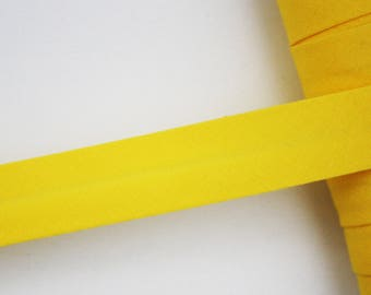 Plain yellow bias, 18 mm, universal pré-plissée cotton bias