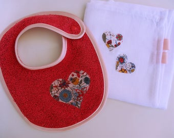 Raspberry pink Terry baby bib and a matching Swaddle - birthday gift