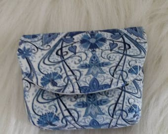wallet in blue and white fabric lining