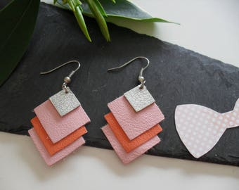 Earrings with silver leather