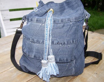large bag recycled denim and blue glitter