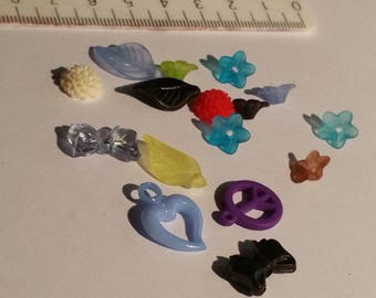set of 16 charms in various shapes