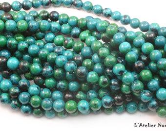 45 Perles rondes de Chrysocolle Naturelle ø8mm