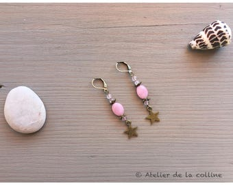 Star earrings, pink agate and rose quartz