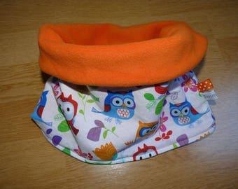 Snood neck warmer reversible girl owls/owls