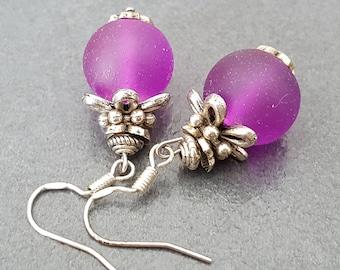 Purple earrings, purple frosted glass bead, purple Christmas gift idea, 12 mm glass bead earrings