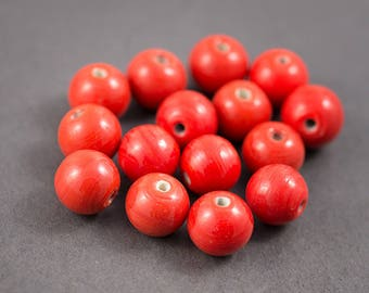 Set of 4 pcs - Indian glass beads, spacer • red opaque shiny • 15mm