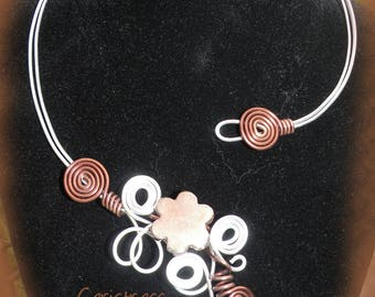 """Necklace """"scarf"""" aluminum silver and chocolate"""