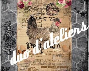 """hens"" digital image digital Interior deco"