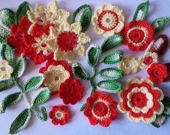 applique set of flowers and leaves - set FFOJ001 cotton crochet
