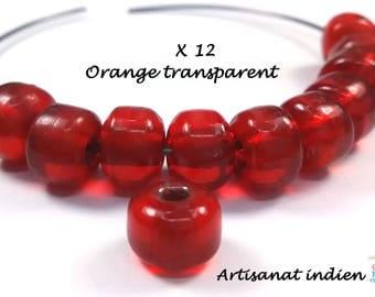 12 orange transparent glass beads handmade Indian, 6x9mm (pv576)